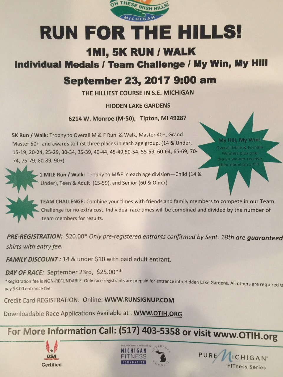 Run for the Hills 2017 Flyer